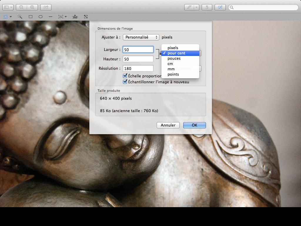 Redimensionner une image sur Mac en pourcentage