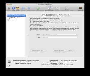 Mac OS X Yosemite - formater disque