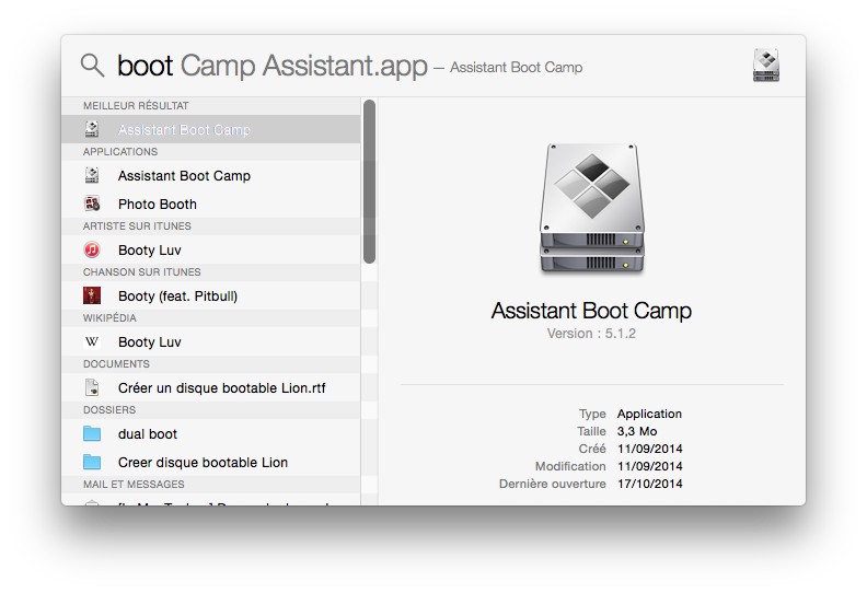 Dual boot Mac Yosemite lancer boot camp