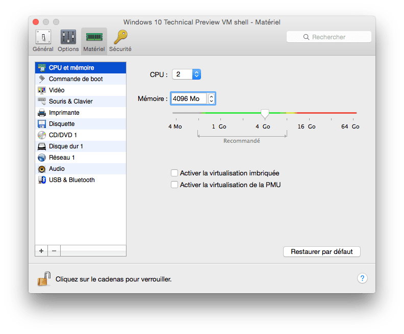 Windows 10 sur Mac ram