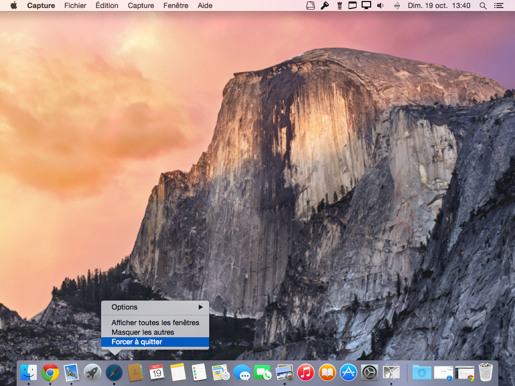 app yosemite forcer a quitter