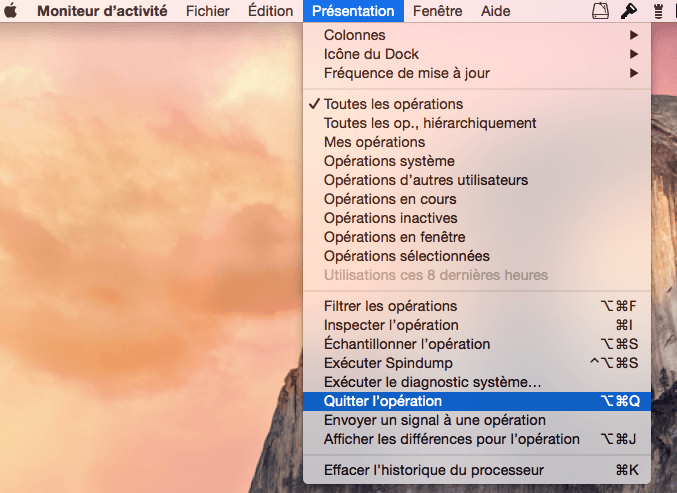 app yosemite menu forcer une operation a quitter