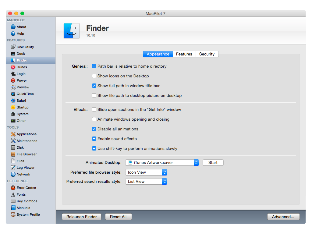 customiser yosemite finder appearance