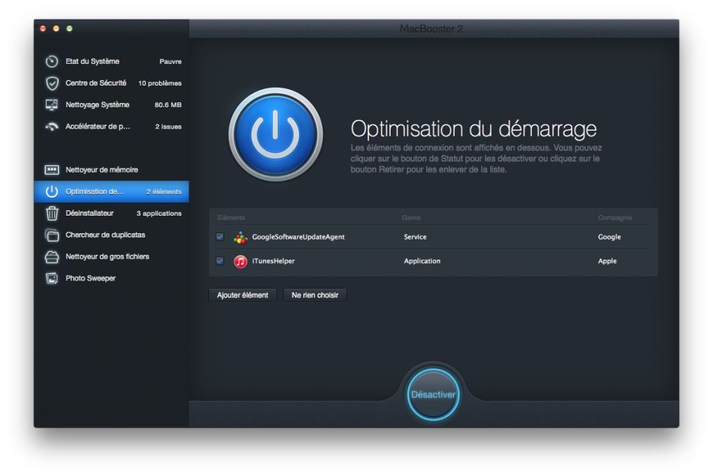 demarrage yosemite optimisation
