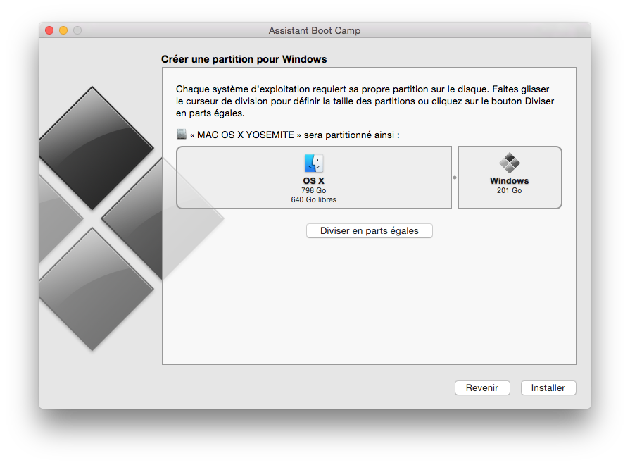 dual boot mac os windows taille partition