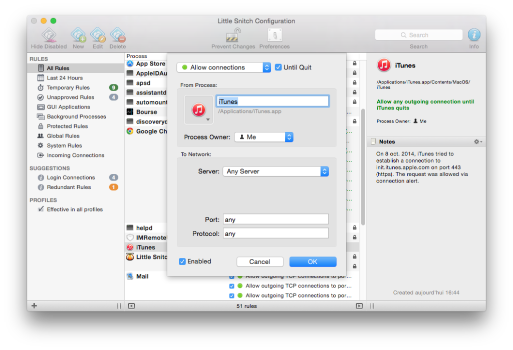 Firewall Yosemite mac creer regle filtrage