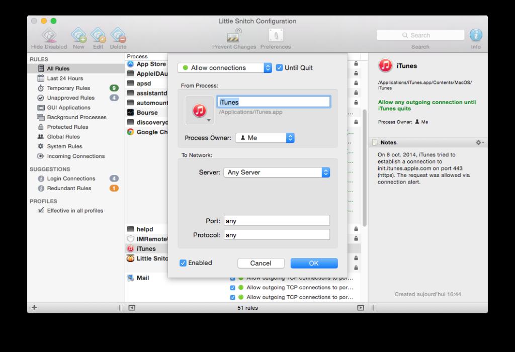 Firewall Yosemite mac creer regle filtrage