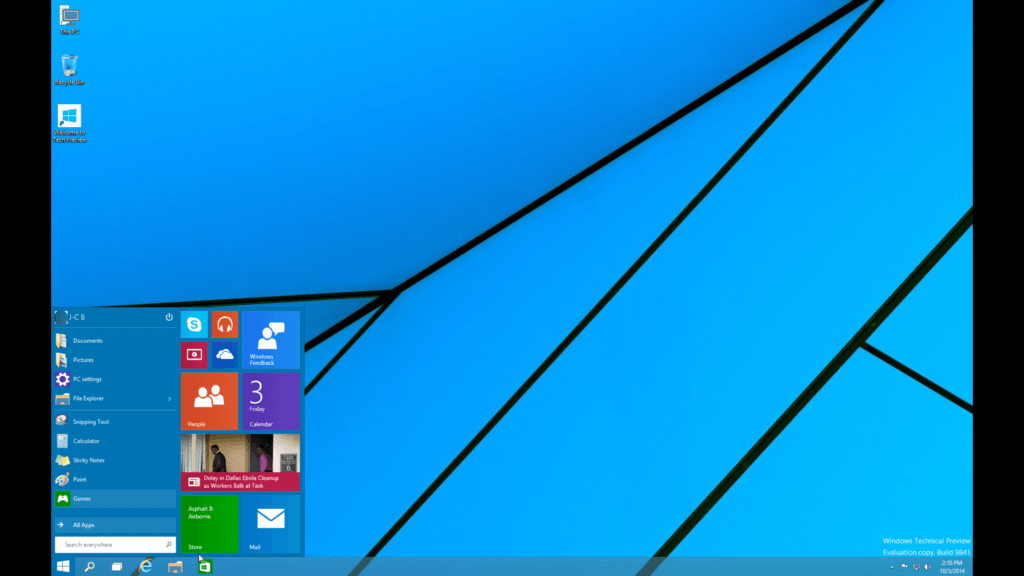 windows 10 sur mac menu demarrer