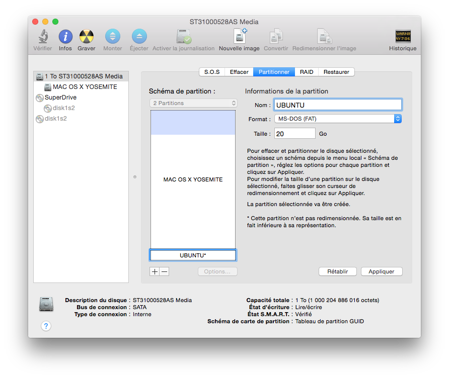 Dual Boot Yosemite Linux partition disque