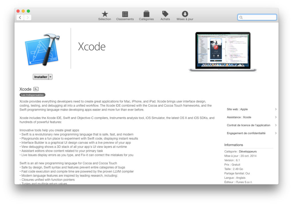 Xcode Command Line Tools Yosemite app store