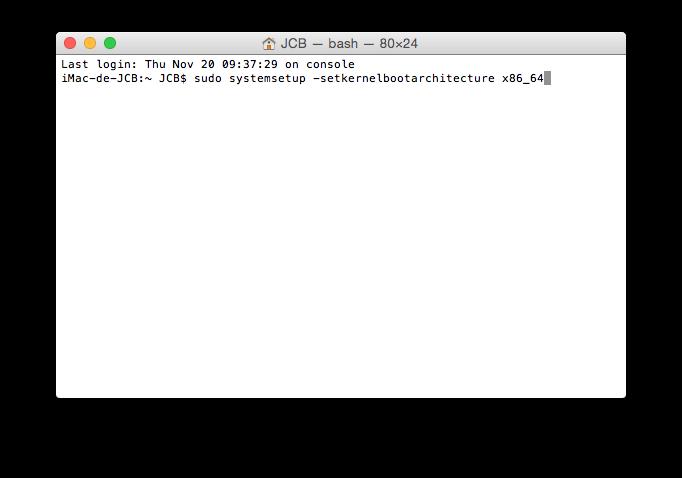 yosemite 64 bits terminal