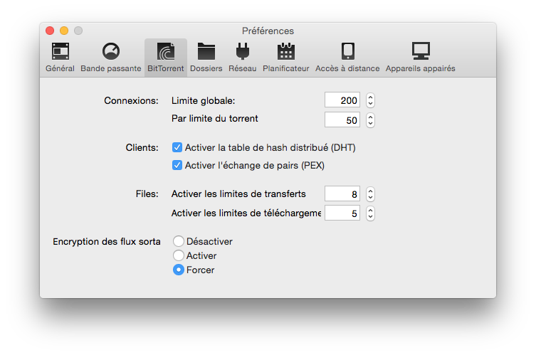 bittorrent yosemite encrypter flux sortants