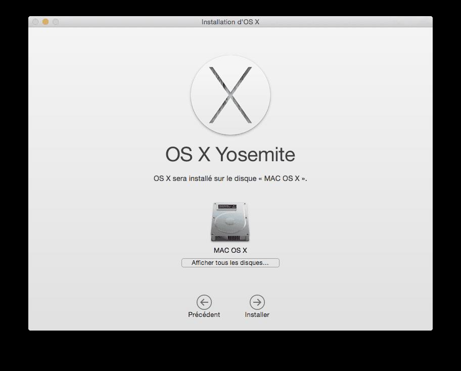 installer Yosemite sur cle USB afficher tous les disques