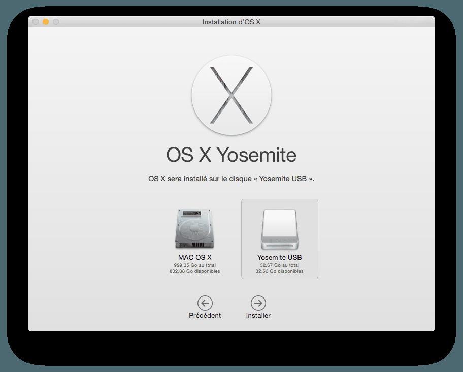 installer Yosemite sur cle USB choisir cle