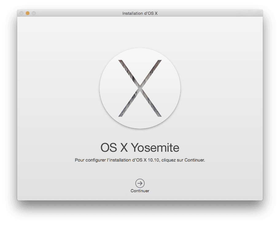 installer Yosemite sur cle USB debut installation