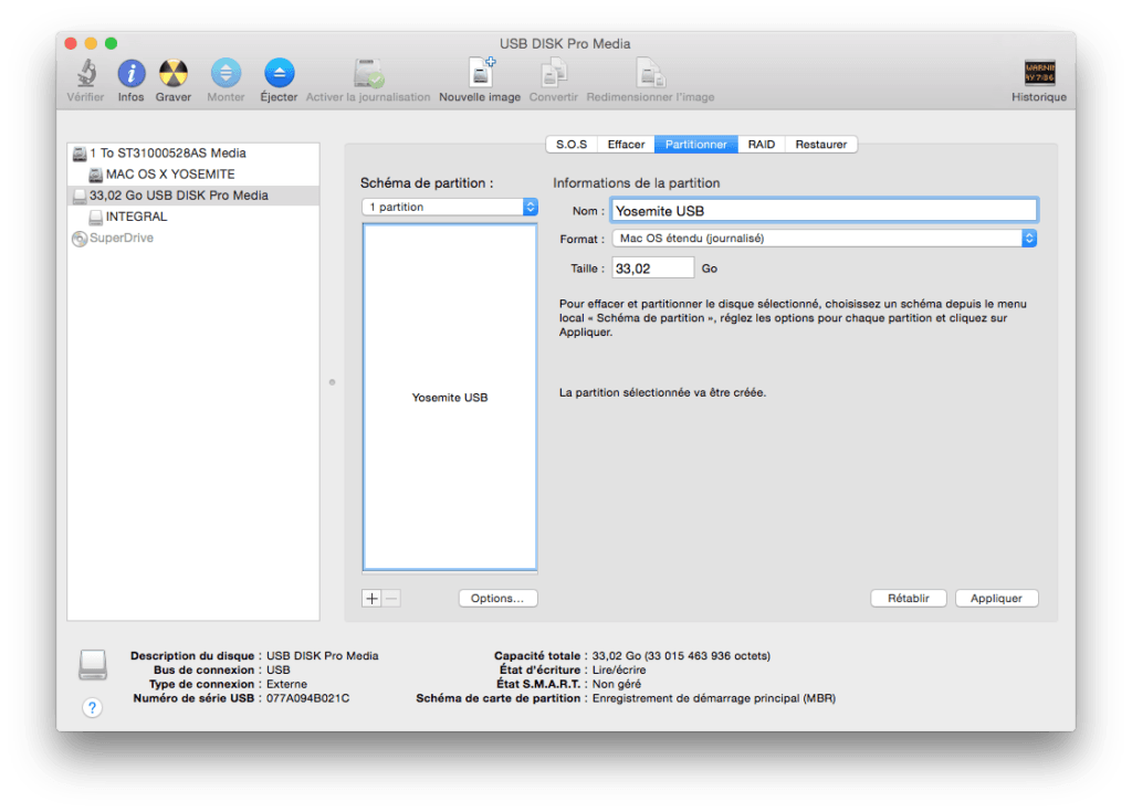 installer Yosemite sur cle USB mac os etendu journalise