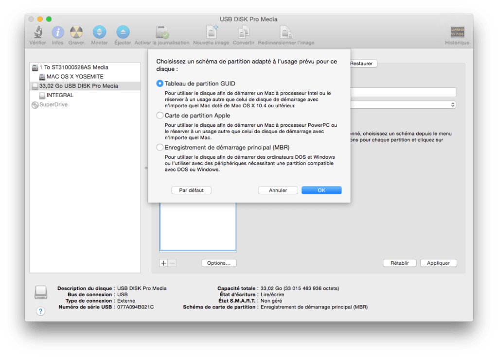 installer Yosemite sur cle USB mac tableau de partition GUID