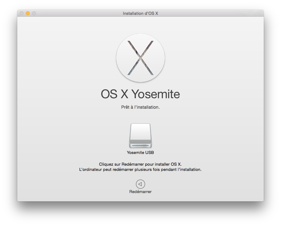 installer Yosemite sur cle USB redemarrer