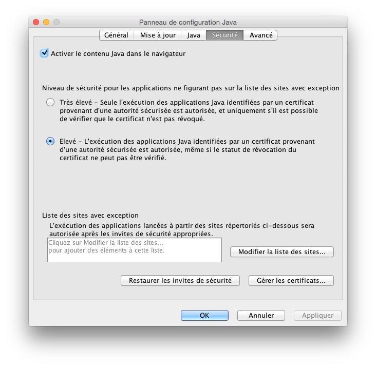 java yosemite niveau de securite apps