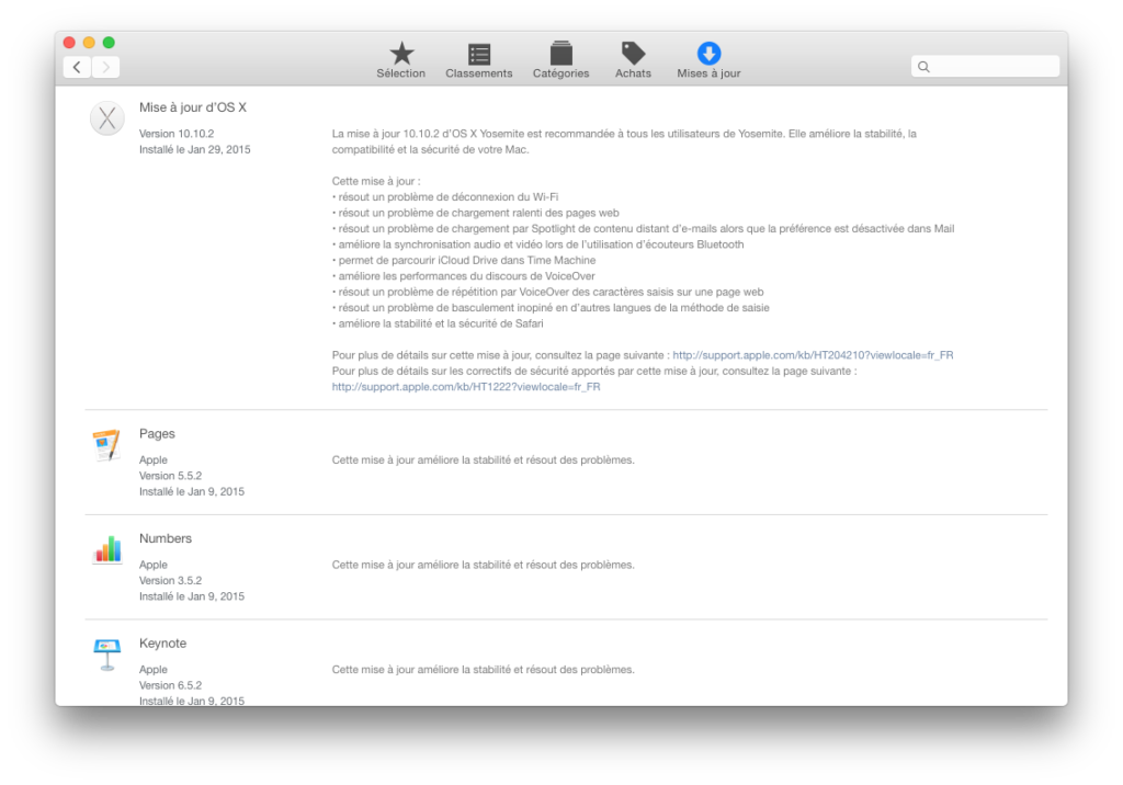 Mac OS X Yosemite 10.10.2 correctif