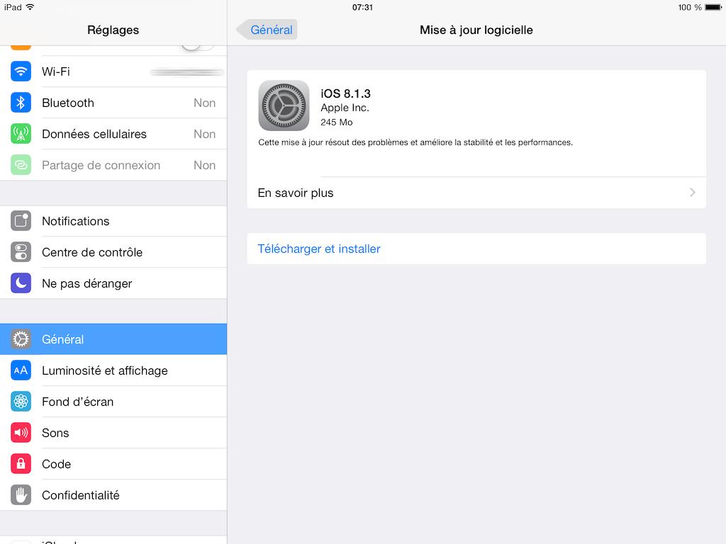 ios 8.1.3 mise a jour logicielle