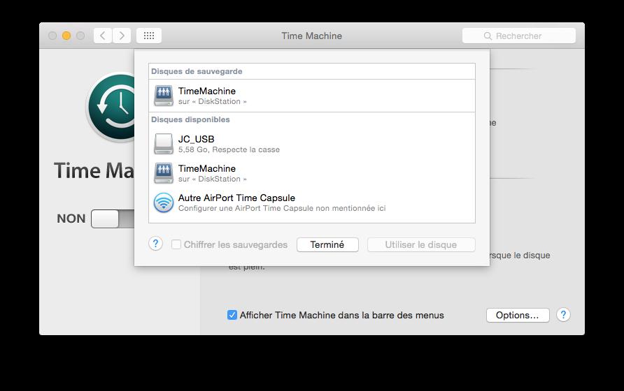 time machine yosemite choisir disque sauvegarde