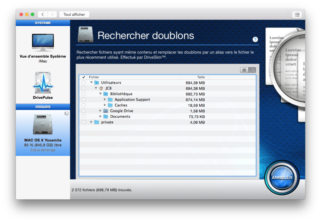 optimiser yosemite nettoyer doublons