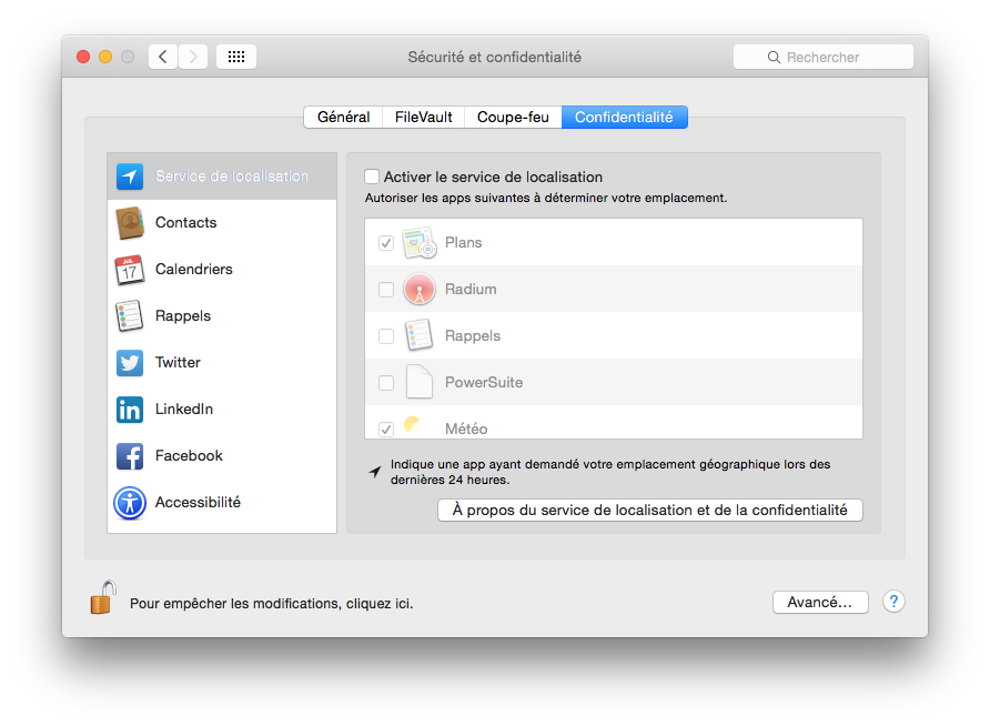 MacBook Yosemite service localisation