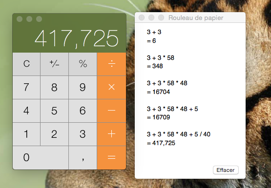 calculatrice yosemite voir operations