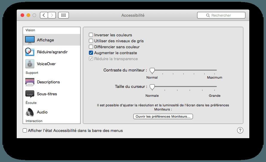 macbook yosemite reduire la transparence