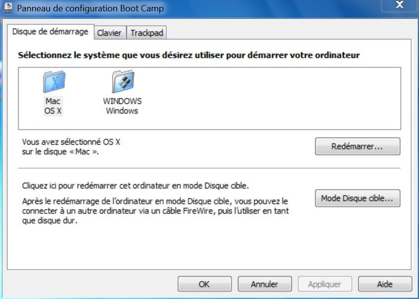 Installer Windows sur un MacBook choix demarrage