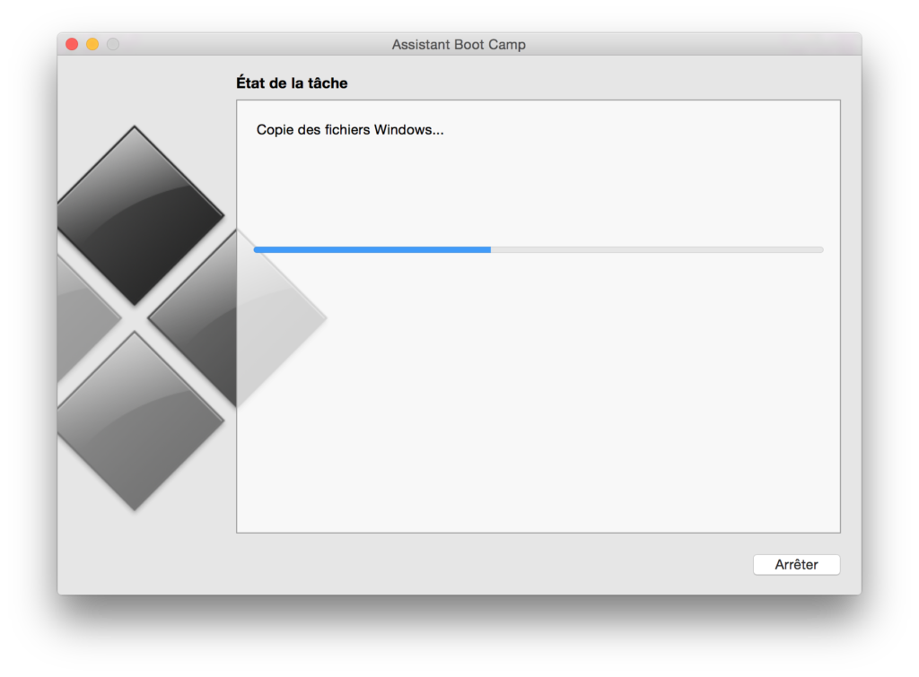 Installer Windows sur un MacBook copie des fichiers