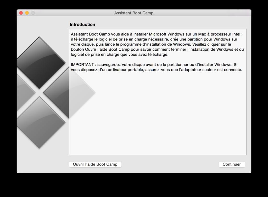 Installer Windows sur un MacBook lancer boot camp