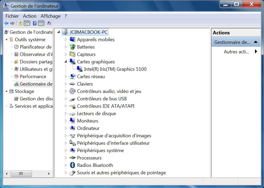 Installer Windows sur un MacBook pilotes installes
