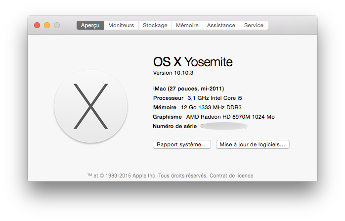 mac os x yosemite 10.10.3 informations