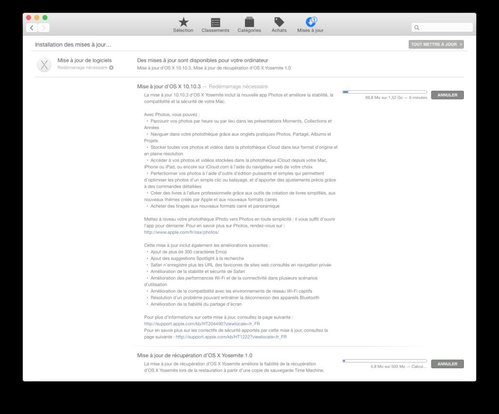 mac os x yosemite 10.10.3 nouvelle mise a jour
