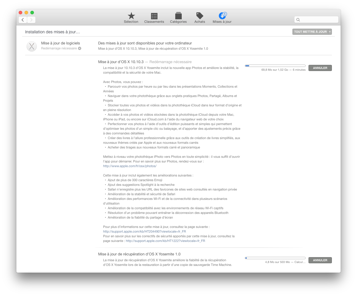 Télécharger Mise à jour 10.10.5 combinée d'OS X Yosemite
