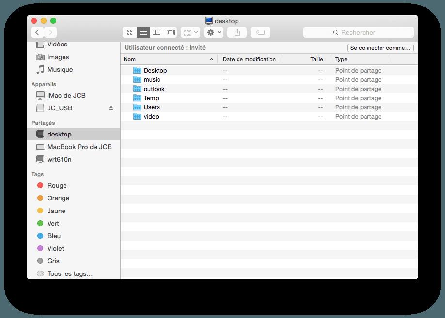 Partage de fichiers Mac windows desktop