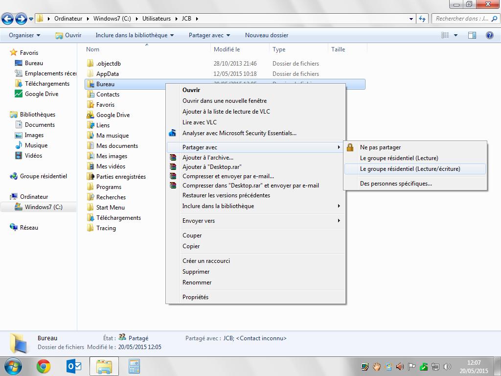 Partage de fichiers Mac windows option de partage