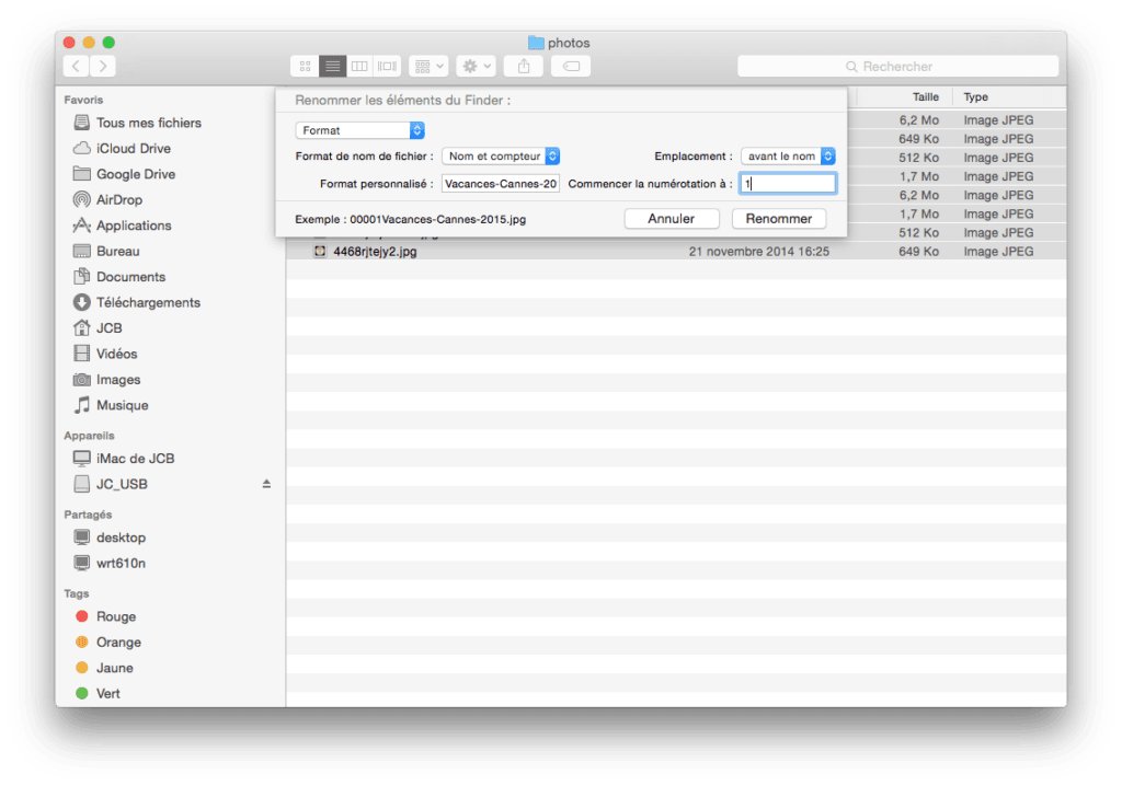 finder yosemite renommer les elements