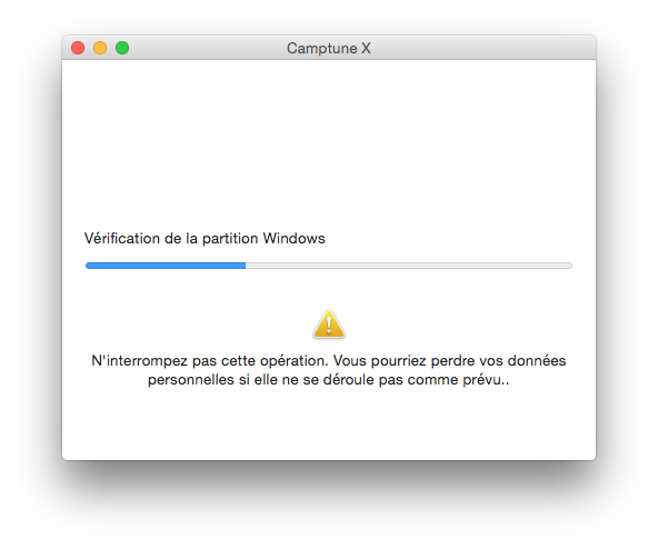 partition mac operation en cours