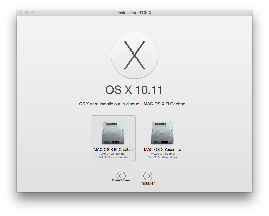 Installer El Capitan choix partition