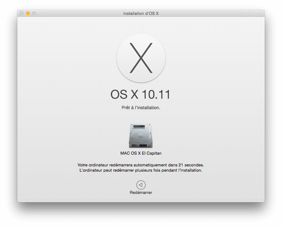 Installer El Capitan redemarrer le mac