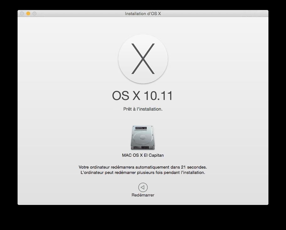 Installer El Capitan redemarrer le mac