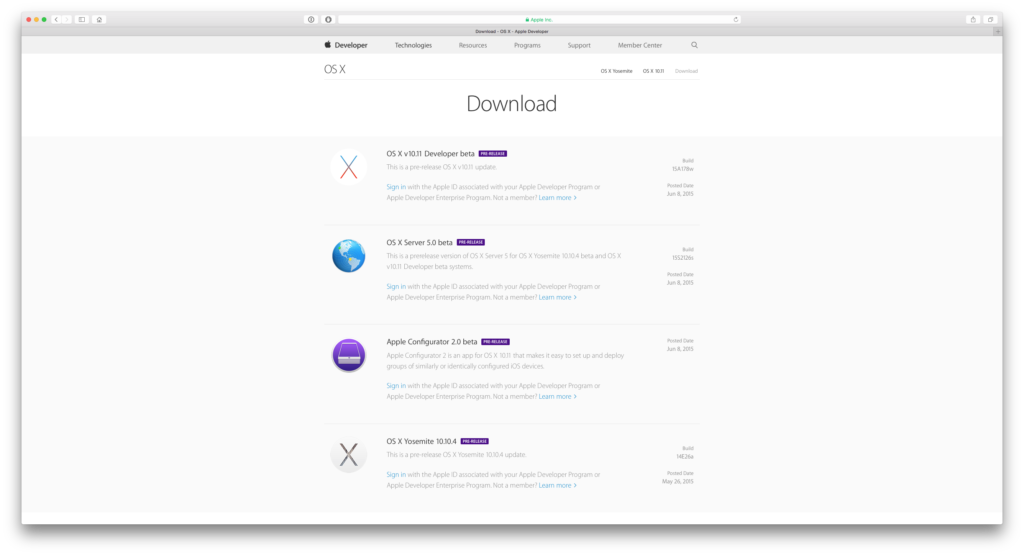 Installer El Capitan site developpeur Apple
