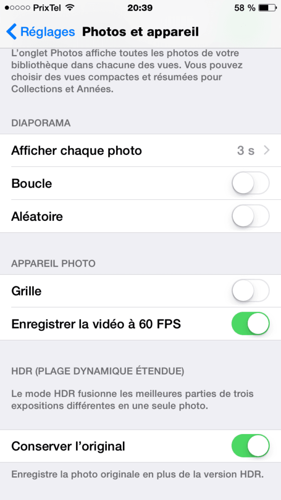 iPhone 6 60 FPS enregistrer la video a 60 fps