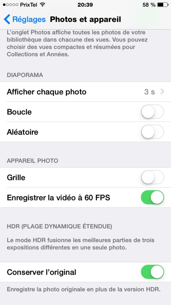iPhone 6 60 FPS enregistrer la video a 60 fps