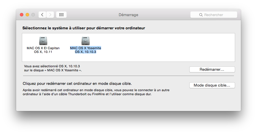 installer el capitan disque de demarrage
