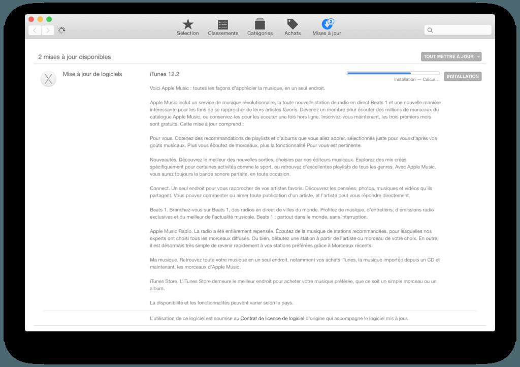 Apple Mise a jour itunes 12.2