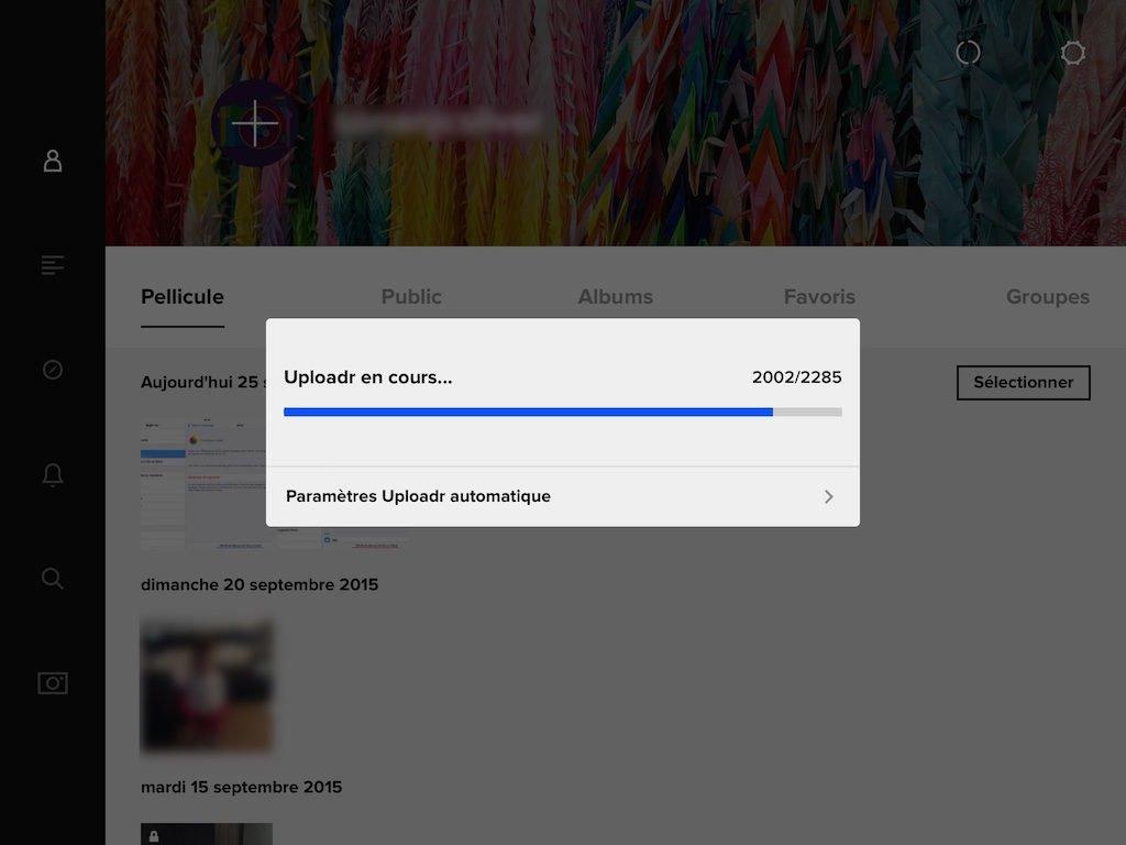 flickr upload automatique photos icloud